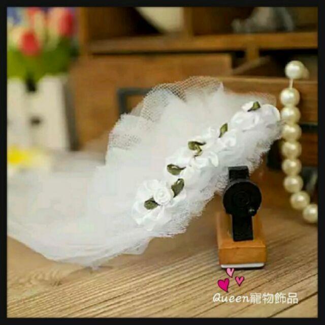 Queen 寵物飾品狗狗新娘頭花婚紗頭飾花朵披紗
