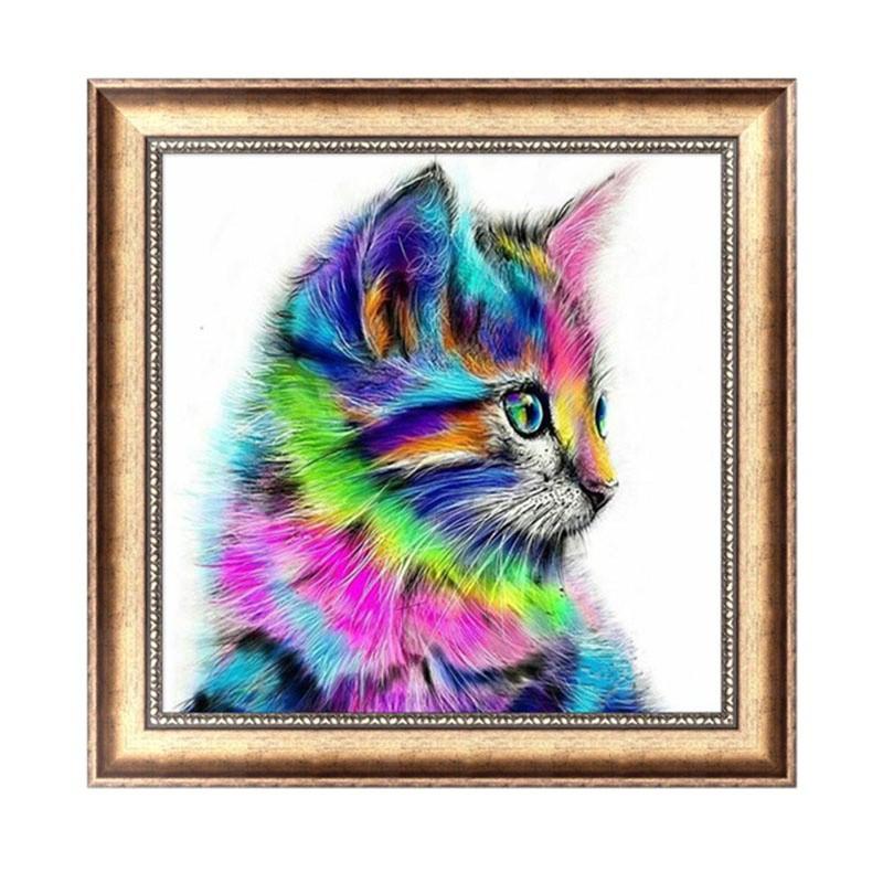 DIY 5D 鑽石刺繡馬賽克多彩貓繪畫十字繡家居裝飾