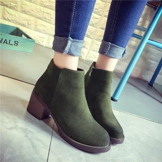 短靴 2016  圓頭粗跟馬丁靴潮女短靴磨砂皮側拉鏈低跟短筒棉靴子女裝靴短靴高跟靴