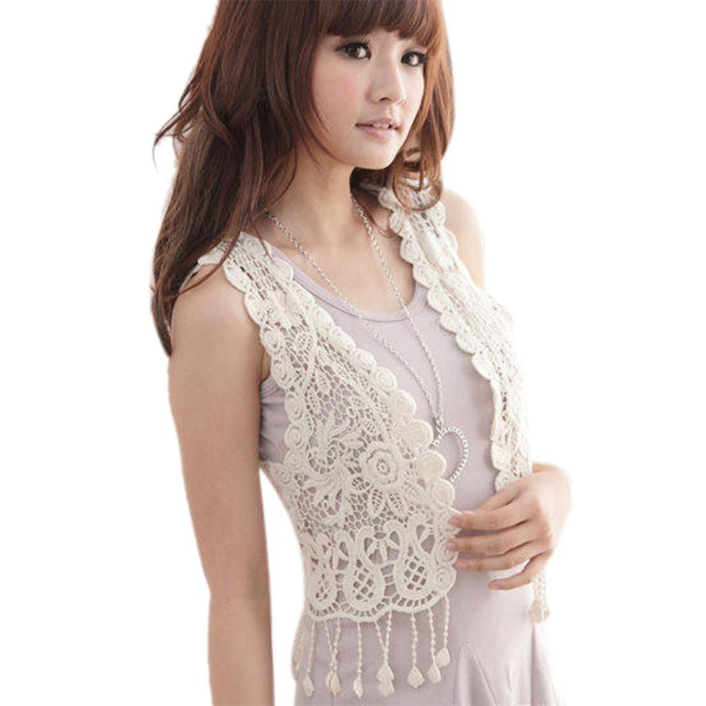 韓國女裝鏤空蕾絲鉤針背心