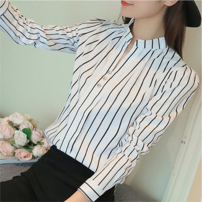 NING shop 白底直條紋氣質顯瘦襯衫