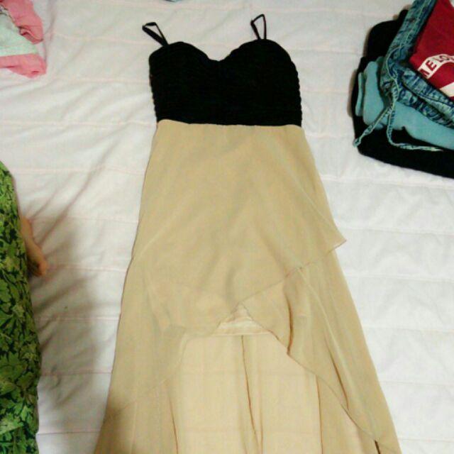 裸色黑色前短後長氣質小禮服洋裝度假婚宴長裙女神性感美背