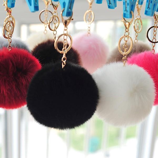 ~UOU ~直徑10CM 超可愛糖果色毛絨掛飾毛毛球汽車鑰匙圈鏈扣 包包掛件吊飾23 色G