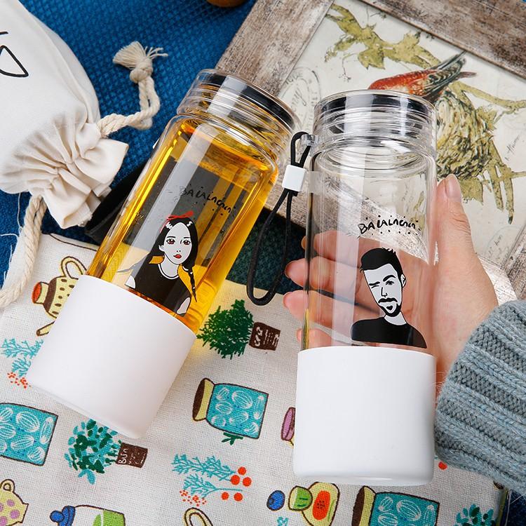 韓國 玻璃杯便攜可愛學生水杯女隨手杯韓國檸檬杯帶蓋茶杯過濾杯子情侶杯