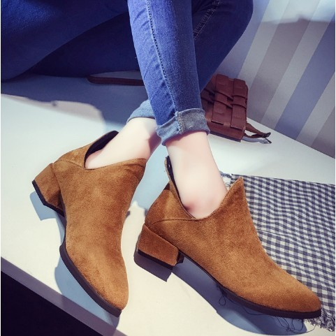 韓流潮品館 2016 鞦鼕季中粗跟騎士靴厚底機車馬丁靴子百搭女英倫短筒靴潮