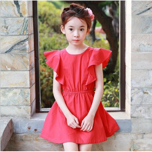2017 新品 韓國公主裙女童連衣裙中大童荷葉邊童裙