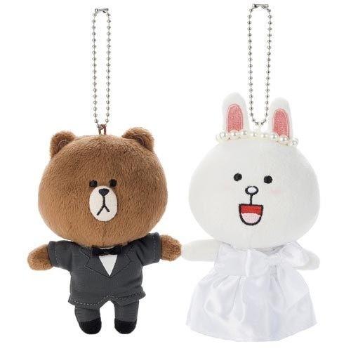 ~哩哩扣扣~ LINE FRIEND app 熊大兔兔結婚公仔新郎新娘絨毛娃娃吊飾收藏組手