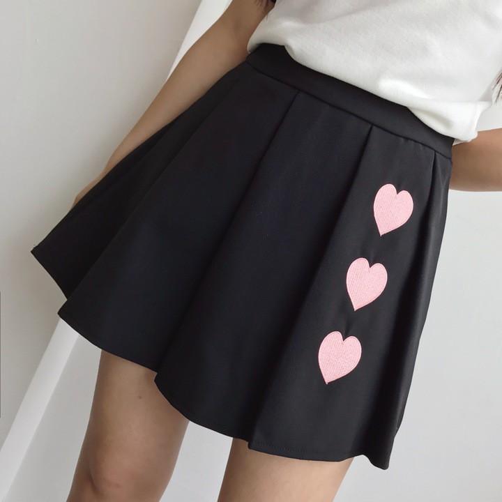 正韓衣著學院風甜美軟妹子 款百搭刺繡桃心 顯瘦百褶半身裙
