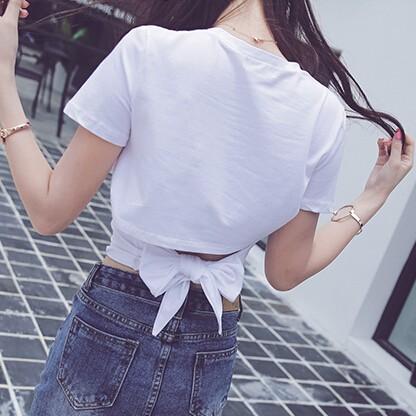 短款後綁帶純色短袖打底T 恤