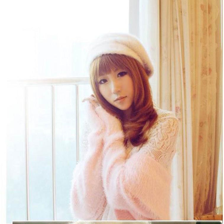 日韓 館韓國新品 保暖兔毛貝雷帽 頭飾潮女 氣質毛線帽子韓風女帽畫家帽毛帽蓓蕾帽日系潮流女