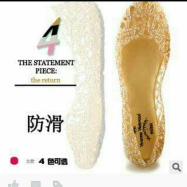 PVC 亮片鏤空金縷百搭水晶果凍鞋 大拍賣)