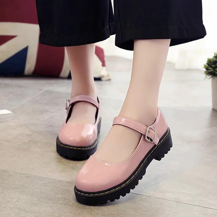 英倫復古小皮鞋學院風女鞋學生鞋平跟圓頭單鞋扣帶牛筋底鞋子百搭