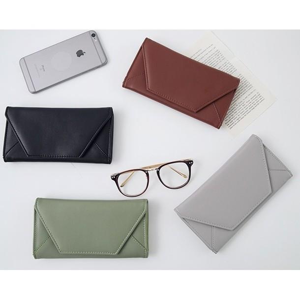 5 折簡約素面皮革信封式長夾可放手機手拿包錢包零錢包復古風CP 值超高 TOP