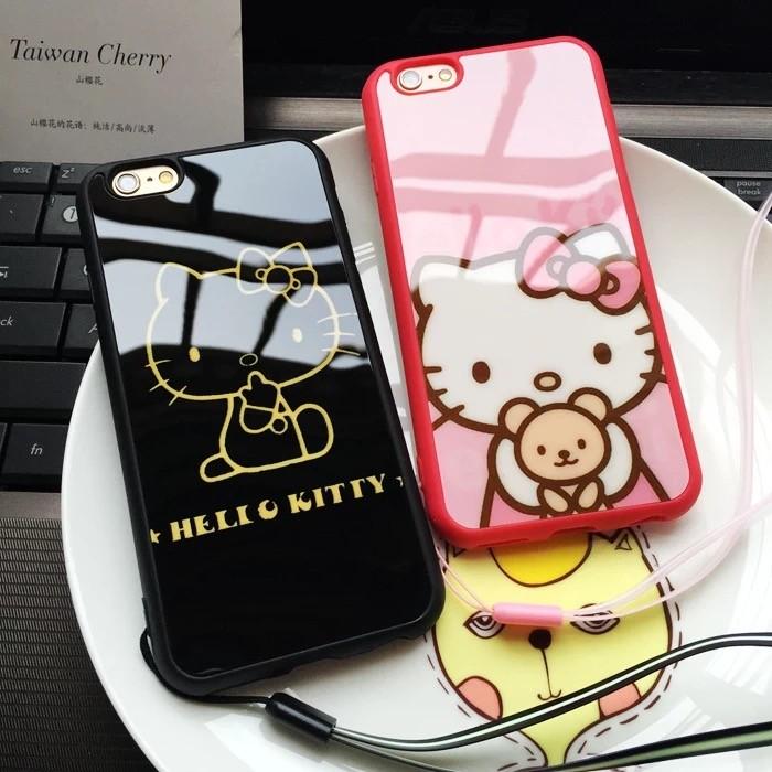 Hello Kitty 鏡面iphone6s 手機殼4 7 蘋果6plus 卡通矽膠套5s