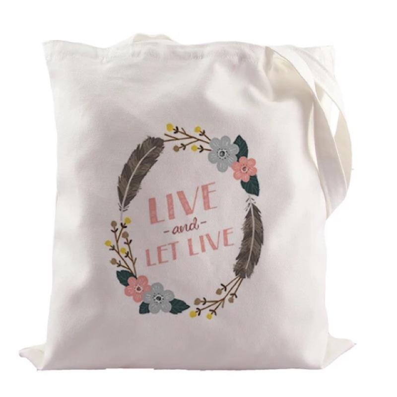 春天花圈字母純棉帆布包內袋暗袋可水洗
