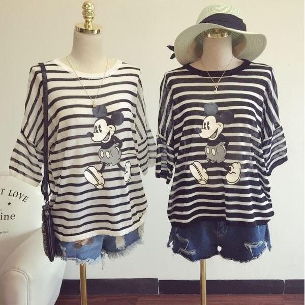 女裝 海軍學院風可愛條紋米奇印花寬鬆短袖針織衫百搭黑白甜美