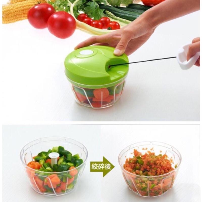 綠色直刀強力三刀頭手動調理機手拉切菜器嬰兒輔食料理器手拉式手動切菜機蒜泥器輕巧蔬食調理器碎