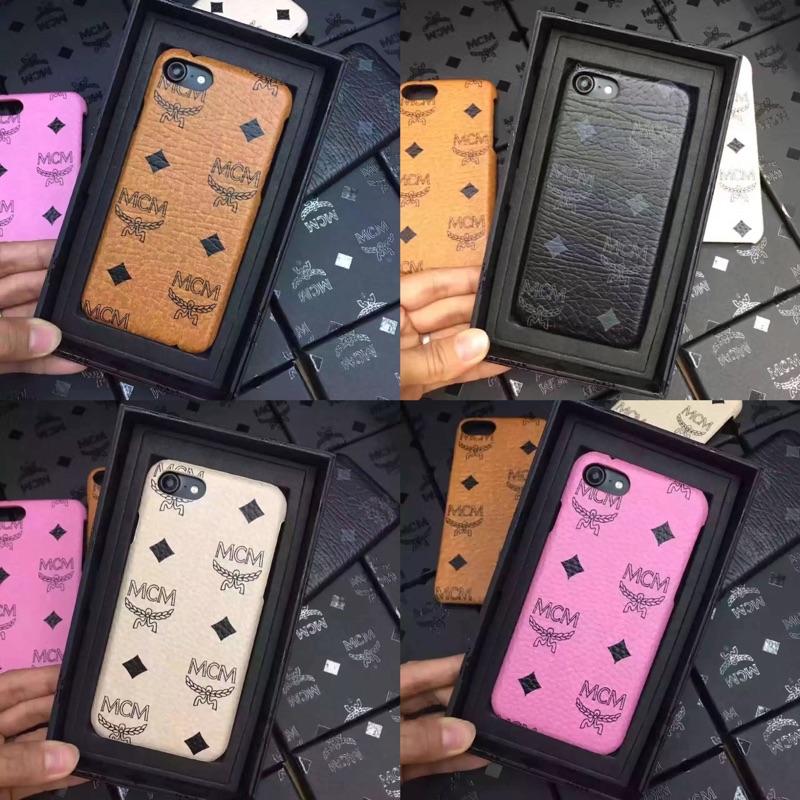 韓國潮牌mcm 款logo 皮質 手機殼iPhone7 iPhone6 半包硬殼