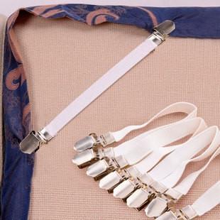折疊防滑不銹鋼扣夾鬆緊帶床單、床罩、床墊扣、桌布固定器4 件一套超强彈力