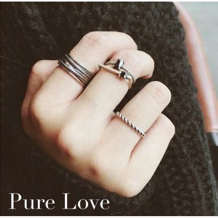 Pure Love 樂芙正韓~R0084 ~韓系 925 純銀黑瑪瑙麻花雙層開口戒指銀