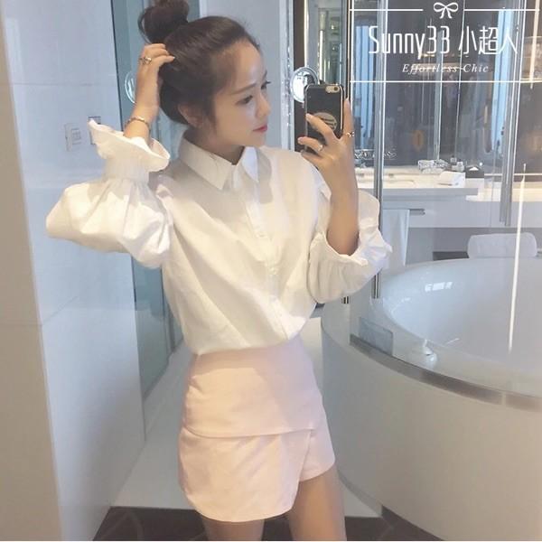 心之芳庭~~2016 秋裝 韓范女裝白色長袖襯衫學院風泡泡袖寬松顯瘦學生上衣