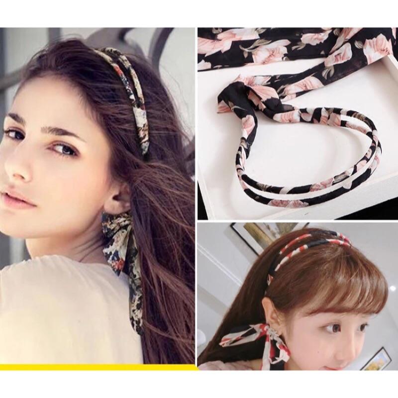 韓國飾品緞帶髮箍粉色花朵藏青底髮飾