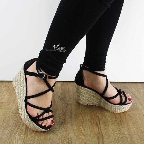實拍 多線條交叉一字扣繞踝楔型涼鞋綁帶涼鞋羅馬涼鞋平底涼鞋厚底涼鞋編織底楔型鞋