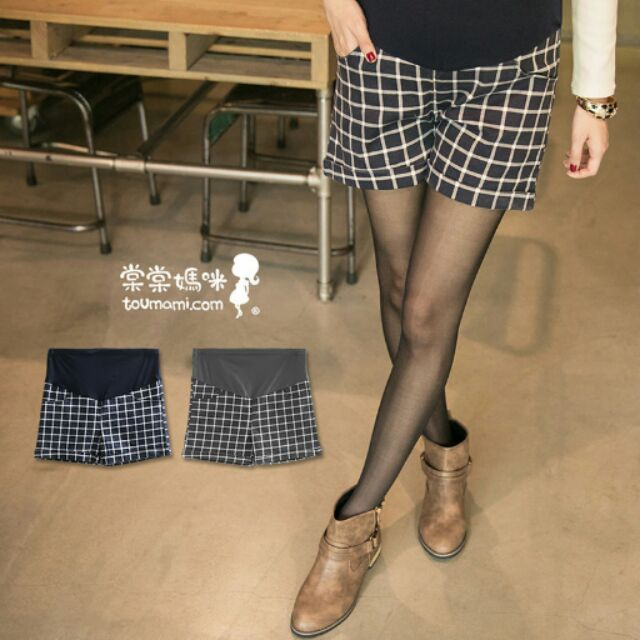 硬挺版方格紋反摺卡其短褲孕婦褲