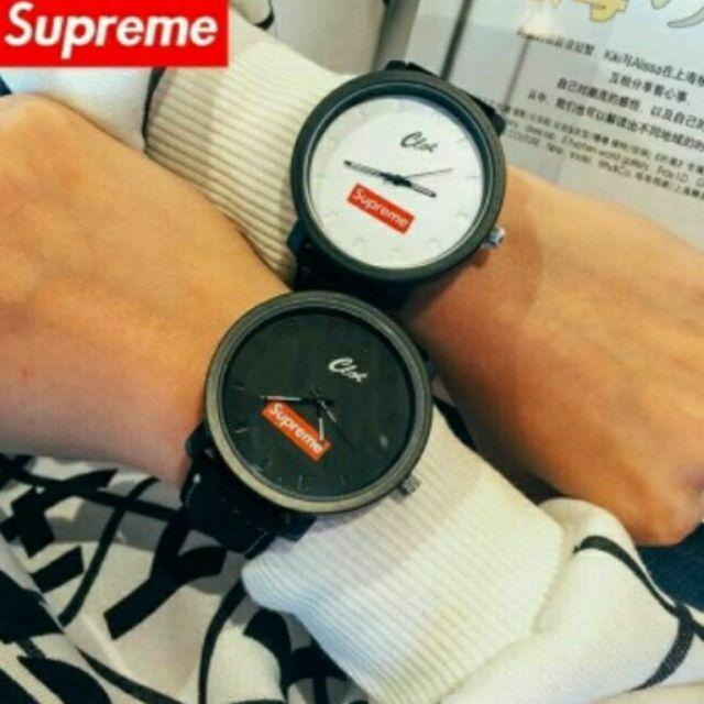 Supreme 錶大錶盤夜光指針絨毛皮帶針扣 街頭潮流手錶對錶情侶錶石英錶學生錶男錶女錶鐘