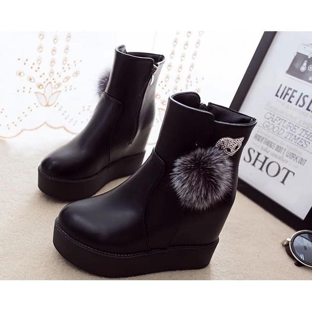 短靴女厚底内增高坡跟鞋春 單靴2016 女鞋防水台圓頭馬丁靴