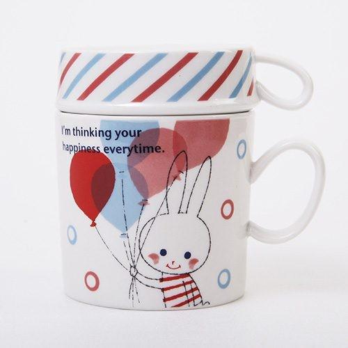 Shinzi Katoh 陶瓷馬克杯大小套杯組氣球兔