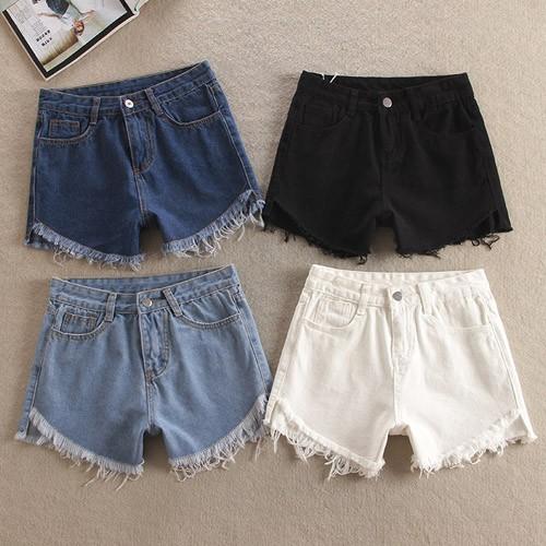 寬鬆水洗抽鬚牛仔褲熱褲~~0020 CM ~白色黑色淺藍深藍