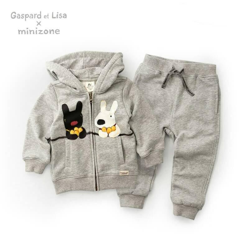 ❤Minizone 聯名Gaspard et Lisa 兔 灰色套裝