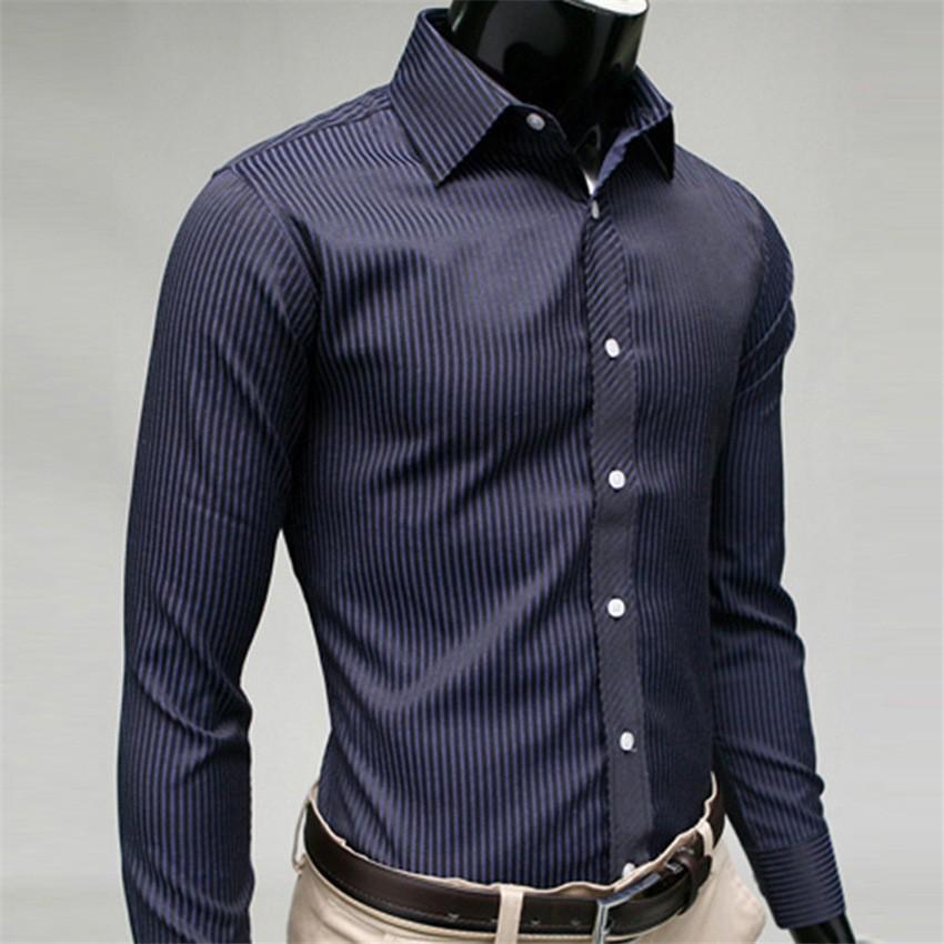 外貿 紳士條紋男士修身長袖襯衫休閒襯衣