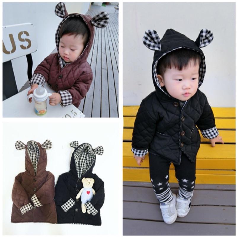 男童女童兒童寶寶小童格子格紋拼接小熊熊熊耳朵單排扣長袖連帽外套夾克加厚鋪棉保暖