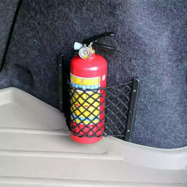汽車魔術貼雙層網兜後備箱收納儲物網車內置物袋車載滅火器固定網螺絲網兜