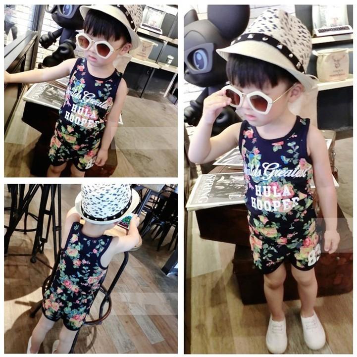 〖Beauty 韓國 服飾〗 潮寶寶 男童夏裝套裝兒童 無袖T 恤寶寶小童 套裝男女 背心