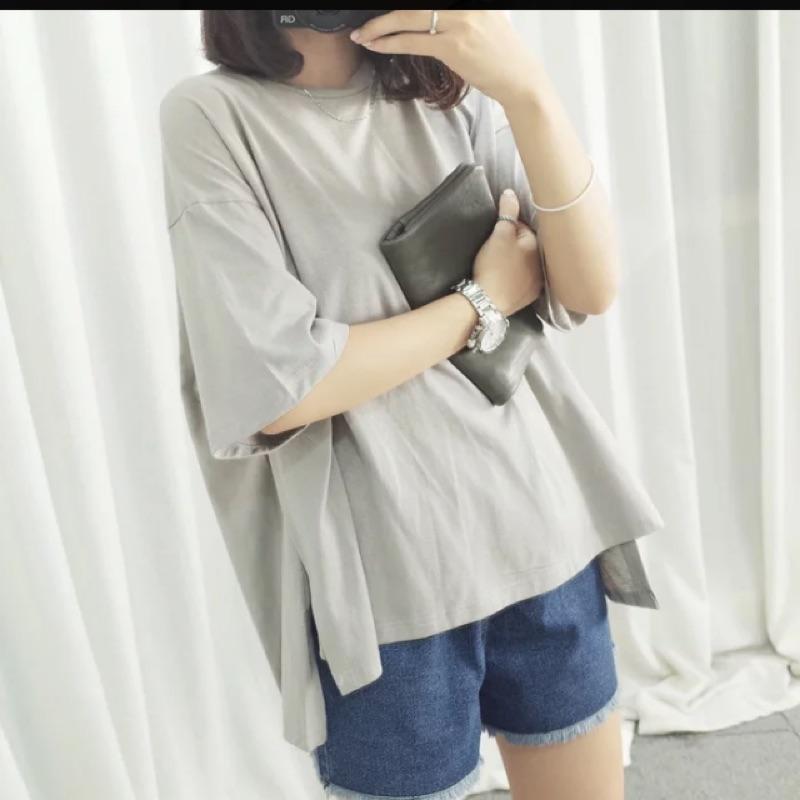 女裝純色簡約高開叉不規則寬鬆顯瘦五分袖