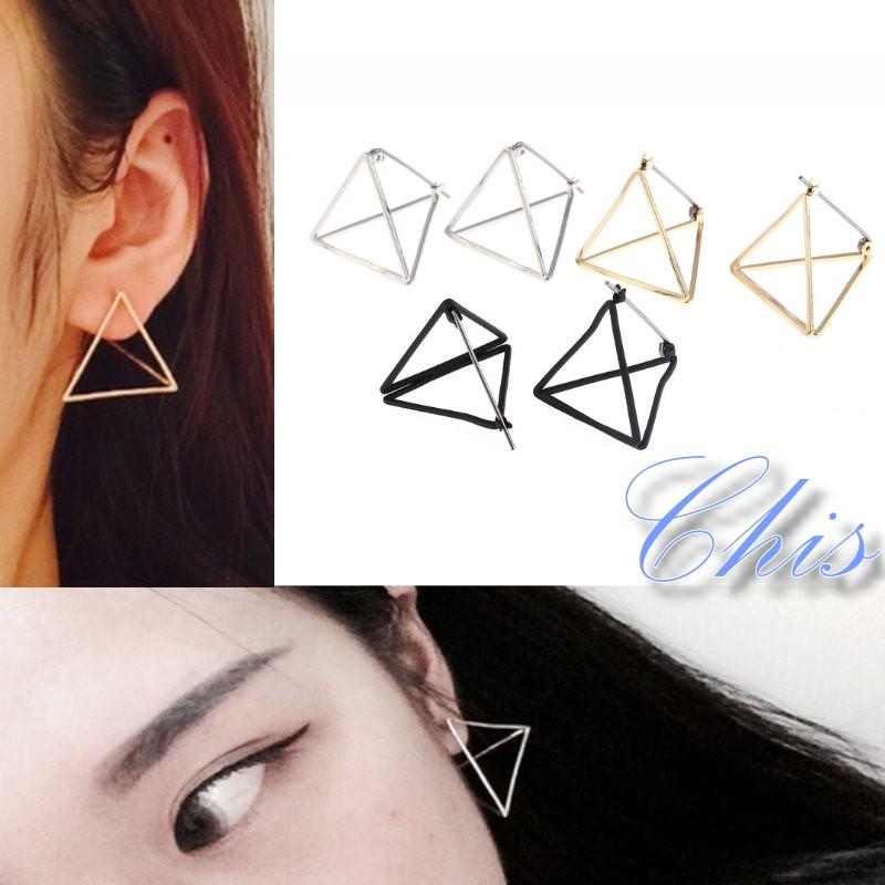 Chis Store ~3D 立體三角形耳環~韓國 結構主義極簡風簡約百搭線條曲線幾何耳飾