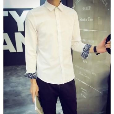 男士襯衫長袖 修身休閒商務青少年打底白色襯衣男裝潮伴郎裝