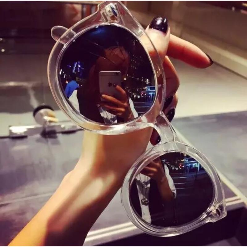 韓安冉同款韓國ulzzang 網紅 透明反光太陽鏡墨鏡眼鏡軟妹墨鏡