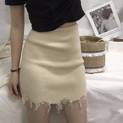 正韓女生衣著氣質性感百搭 潮流破洞毛邊針織顯瘦包臀裙半身裙短裙