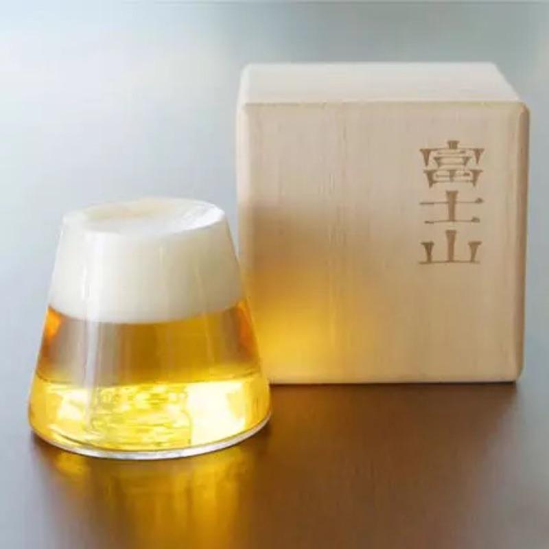 富士山啤酒杯、紅酒杯、品酒外出便攜(附木盒)