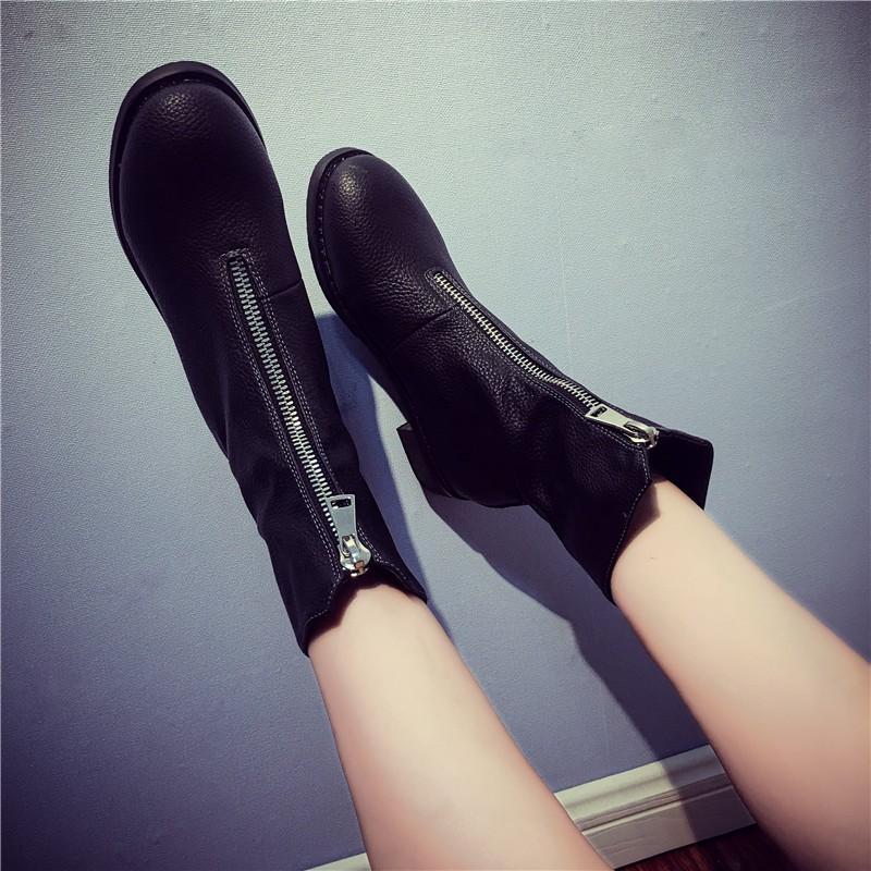 ☞☞☞ギケグn2016  粗跟中跟前拉鏈加絨短靴子平底短筒機車馬丁靴女單靴