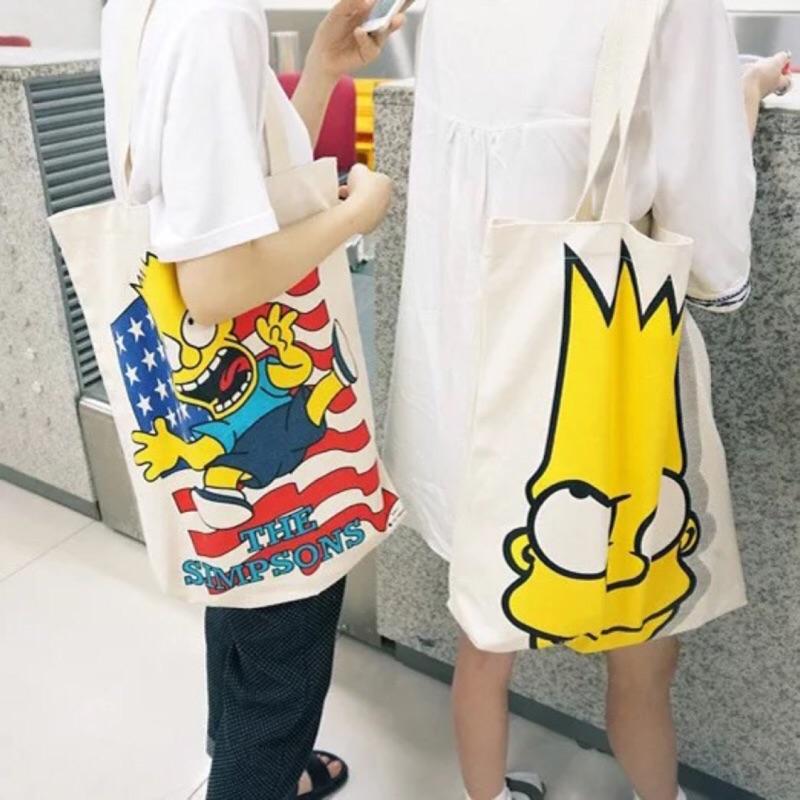 辛普森純白大號卡通布袋 環保 袋單肩包潮流帆布包大包
