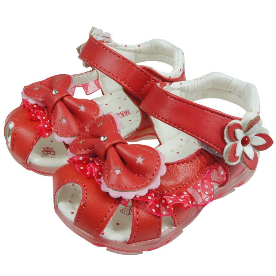 優雅桃色蝴蝶結電燈涼鞋13 15cm Oi3901h