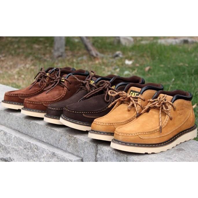 美國CAT 牛皮男鞋女鞋情侶鞋工作大頭鞋單鞋休閒鞋702205 卡特短靴工裝靴戶外登山鞋機