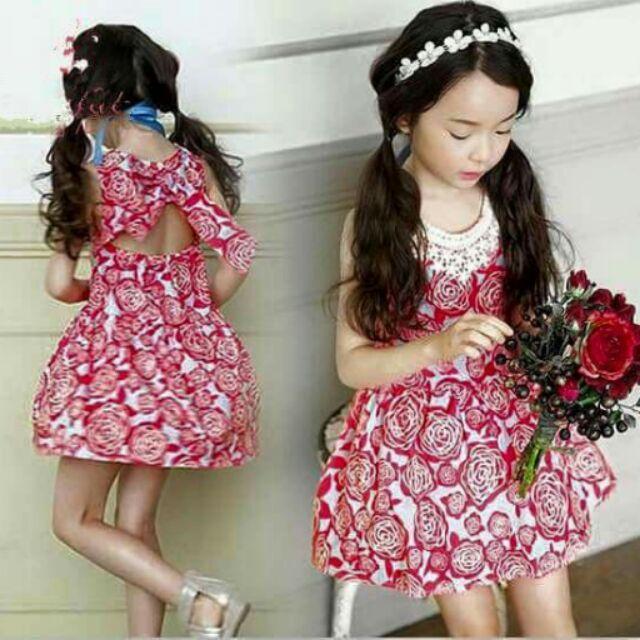 韓系花朵氣質露背洋裝