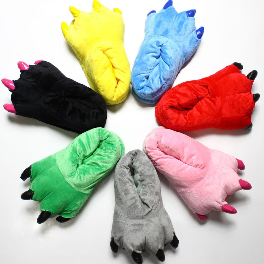 1 雙連體睡衣爪子鞋子男女兒童卡通珊瑚絨恐龍動物毛絨家居鞋