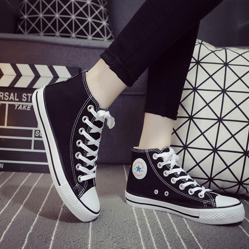 平底高筒帆布鞋透氣休閒女鞋 潮流學生板鞋球鞋紅黑藍